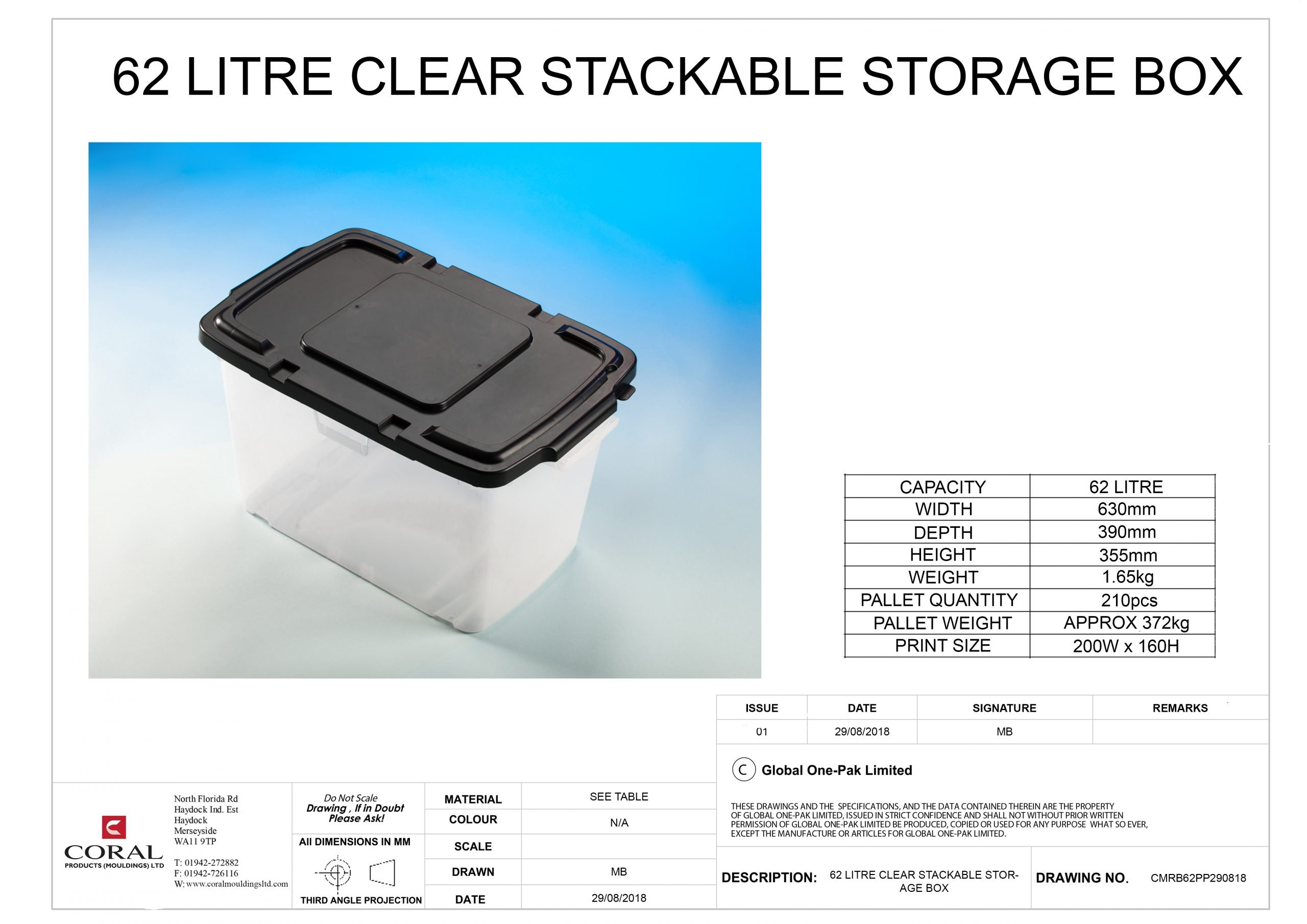 62 litre clear stackable storage solution box Data Sheet scaled
