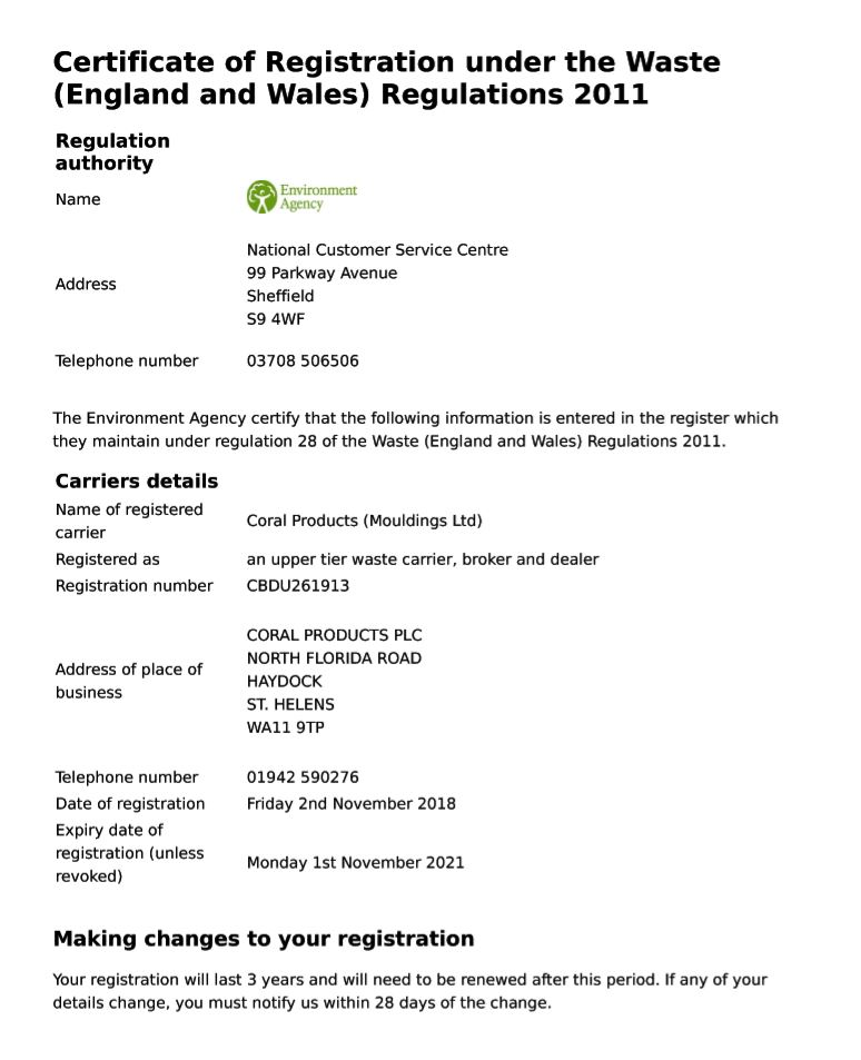 Coral Environment Agency Cert 2019